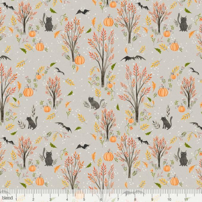 Cori Dantini Halloweeny, Cats and Bats in Grey, Fabric Half-Yards 112.123.03.1