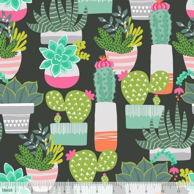 Maude Asbury Desert Blooms, Spiny Succulents in Black, Fabric Half-Yards 101.148.01.1