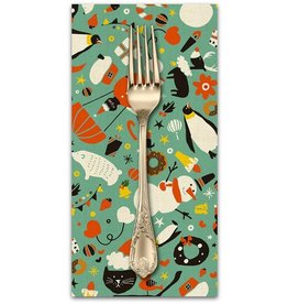 Christmas Collection Waku Waku Christmas, Mixer in Aqua, Dinner Napkin
