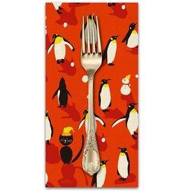 Christmas Collection Waku Waku Christmas, Penguin Dance in Red, Dinner Napkin