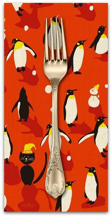 Christmas Collection Waku Waku Christmas, Penguins Cats Dance in Red, Dinner Napkin