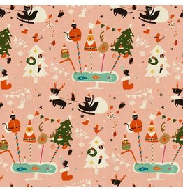 Cotton + Steel Waku Waku Christmas, Holiday Party in Pink, Fabric Half-Yards NM200-PI1U