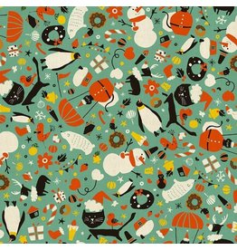 Cotton + Steel Waku Waku Christmas, Mixer Cats in Aqua, Fabric Half-Yards NM202-AQ1U