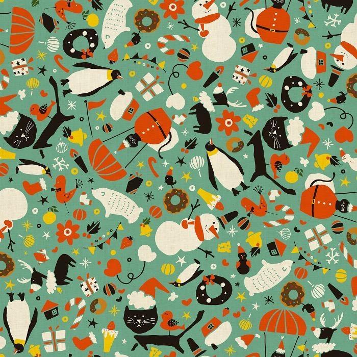 Cotton + Steel Waku Waku Christmas, Mixer Cats in Aqua, Fabric Half-Yards NM202-AQ1U