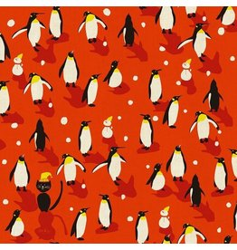 Cotton + Steel Waku Waku Christmas, Penguins Cats Dance in Red, Fabric Half-Yards NM203-RE3U