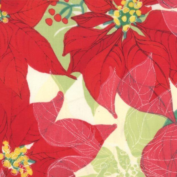 Moda Splendid, Poinsettia in Cream, Fabric Half-Yards 48650 11