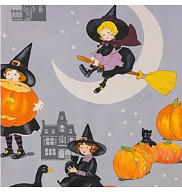Alexander Henry Fabrics Haunted House, Tabitha Cats in Halloween Grey, Fabric Half-Yards 8742A
