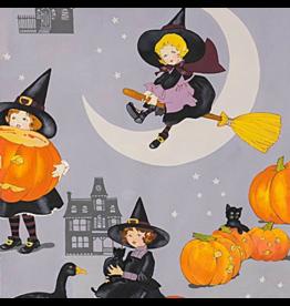 Alexander Henry Fabrics Haunted House, Tabitha in Halloween Grey, Fabric Half-Yards 8742A