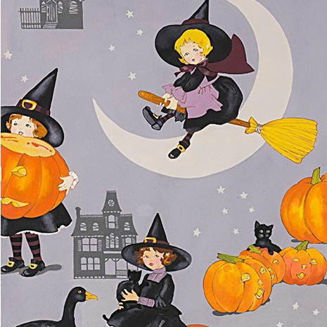 Alexander Henry Fabrics Haunted House, Tabitha in Halloween Grey, Fabric Half-Yards 8742A