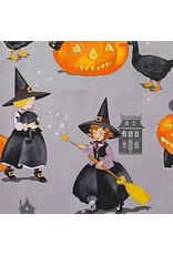 PD's Alexander Henry Collection Haunted House, Tabitha in Halloween Grey, Dinner Napkin