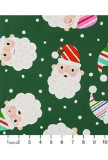 Alexander Henry Fabrics Christmas Time, Candy Cane Kringle in Green, Fabric Half-Yards 8752A