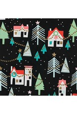 Alexander Henry Fabrics Christmas Time, Neighborhood Noel in Black with Metallic, Fabric Half-Yards M8755AR