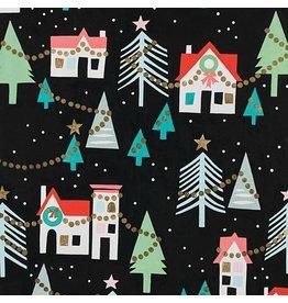 Alexander Henry Fabrics Christmas Time, Neighborhood Noel in Black with Metallic, Fabric Half-Yards M8755AR