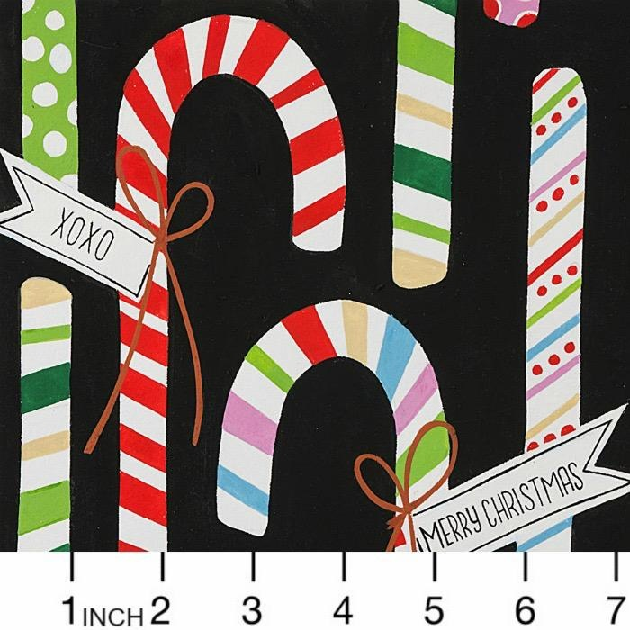 Alexander Henry Fabrics Christmas Time, Candy Canes in Black, Fabric Half-Yards 8751C