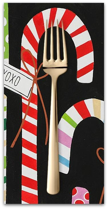 Christmas Collection Christmas Time, Candy Canes in Black, Dinner Napkin