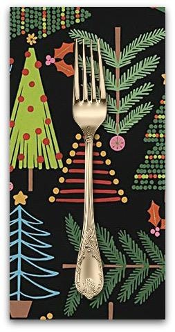 Christmas Collection Christmas Time, Holiday Pines  in Black, Dinner Napkin