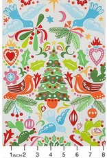 Alexander Henry Fabrics Christmas Time, Paloma Navidad in Natural Multi, Fabric Half-Yards 8754A