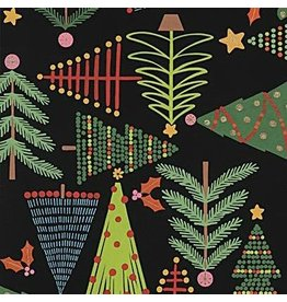 Alexander Henry Fabrics Christmas Time, Holiday Pines in Black, Fabric Half-Yards 8634AR
