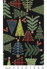 Alexander Henry Fabrics Christmas Time, Holiday Pines in Black, Fabric Half-Yards 8634AR