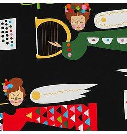 Alexander Henry Fabrics ON SALE-Christmas Time, Holiday Pine Divine in Black, Fabric Half-Yards 8750B