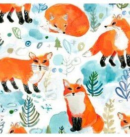 August Wren Best in Snow, Foxes in White, Fabric Half-Yards STELLA-DAW1206