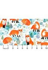 August Wren Best in Snow, Foxes in White, Fabric Half-Yards STELLA-DAW1206