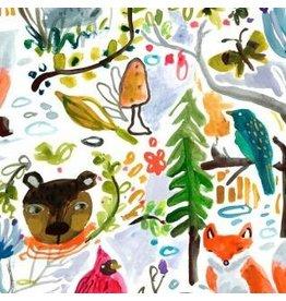 August Wren Best in Snow, Wildlife in White, Fabric Half-Yards STELLA-DAW1204