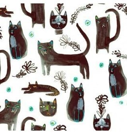 August Wren Creep it Real, Black Cats in White, Fabric Half-Yards STELLA-DAW1209