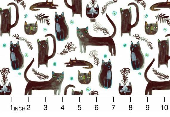 August Wren Creep it Real, Black Cats in White, Fabric Half-Yards STELLA-DAW1209