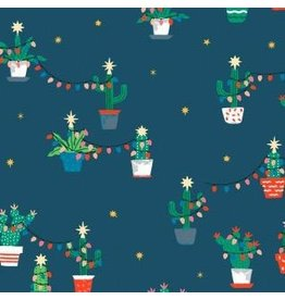 Dear Stella Fa La La Llama, Holiday Cacti in Orion, Fabric Half-Yards STELLA-1229