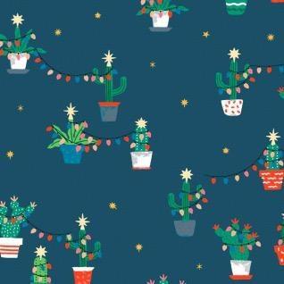 Dear Stella Fa La La Llama, Holiday Cacti in Orion, Fabric Half-Yards STELLA-1229