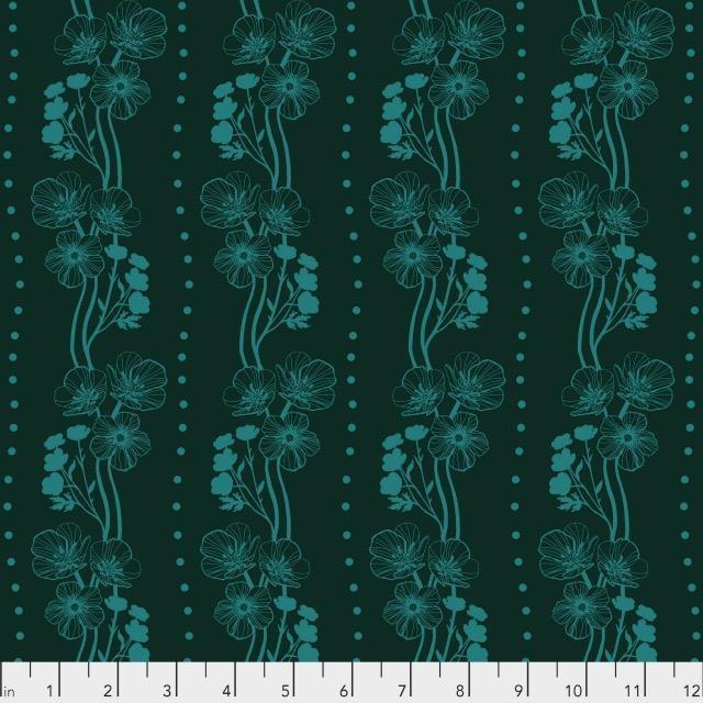 Anna Maria Horner Second Nature, Buttercups in Emerald, Fabric Half-Yards PWAM009