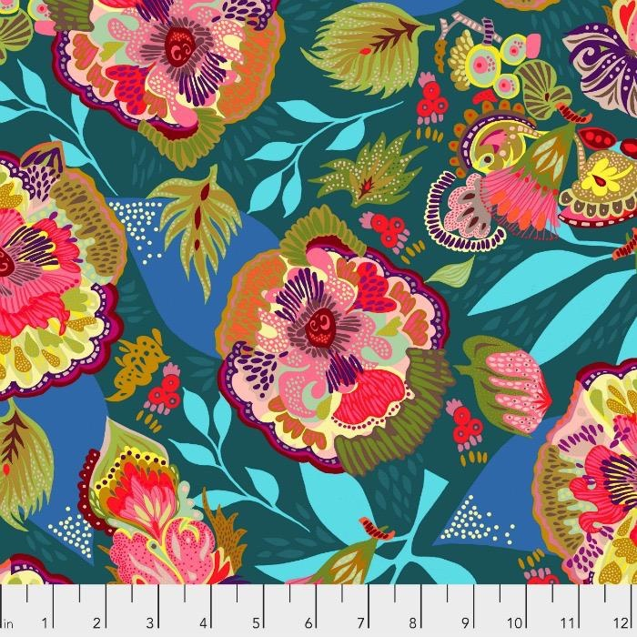 PD's Shannon Newlin Collection Vibrant Blooms, Floral Express in Blue, Dinner Napkin