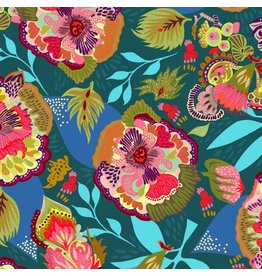 Shannon Newlin Vibrant Blooms, Floral Express in Blue, Fabric Half-Yards PWSN025