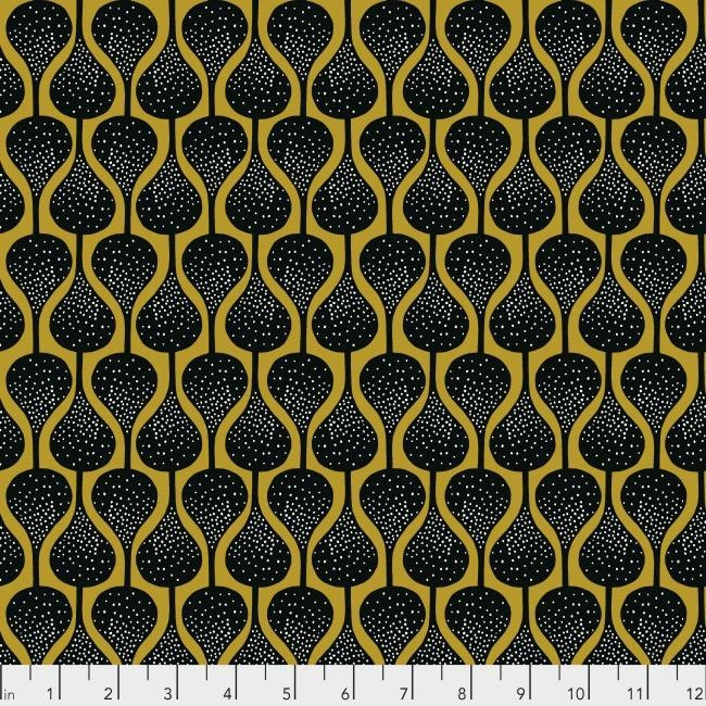 Shannon Newlin Vibrant Blooms, Drops in Golden, Fabric Half-Yards PWSN024