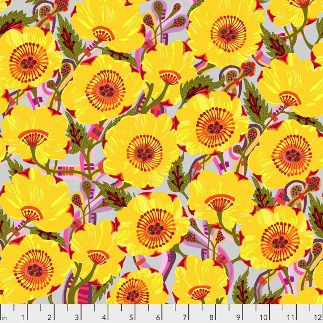 Shannon Newlin Vibrant Blooms, Sunshine Bloom in Yellow, Fabric Half-Yards PWSN031
