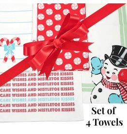 Sweet Snowman Christmas Towels - Set of 4