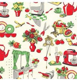 Michael Miller Table Talk, Fifties Kitchen in Cream, Fabric Half-Yards CX1595