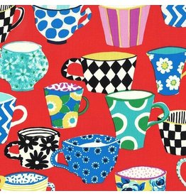 Michael Miller Table Talk, Coffee Break in Paprika, Fabric Half-Yards DC8471