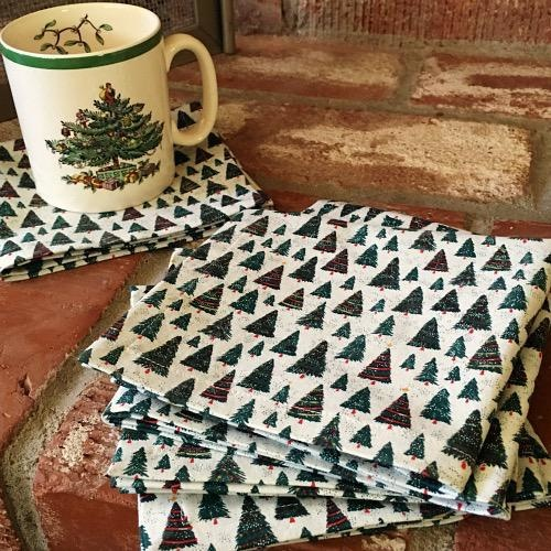 Set of 6 Holiday Cocktail Napkins