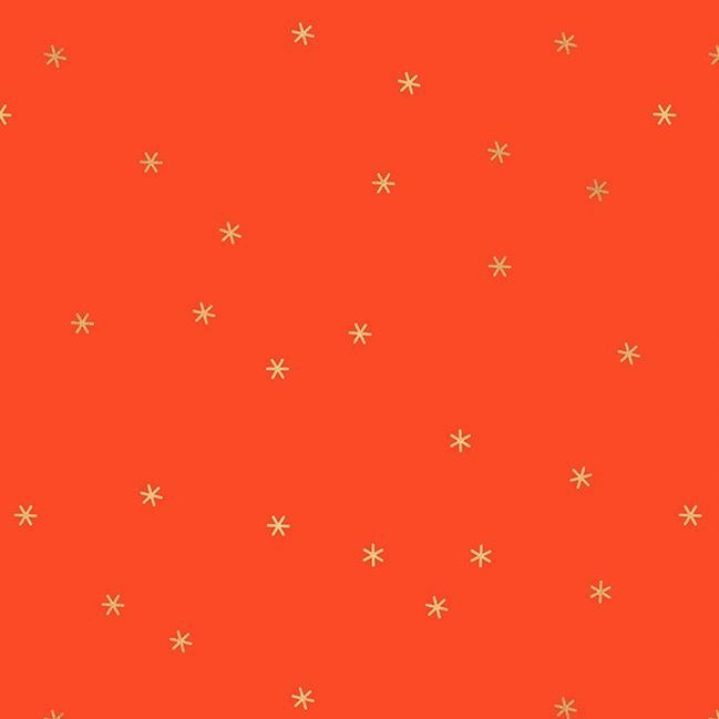 Melody Miller Ruby Star Society, Spark in Roadster Red with Gold Metallic, Fabric Half-Yards RS0005 31M