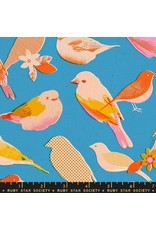 PD's Ruby Star Society Collection Ruby Star Society, Social Birds in Bright Blue, Dinner Napkin