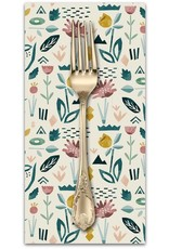 PD's Cotton + Steel Collection In Bloom, Floral Garden in Seafoam, Dinner Napkin