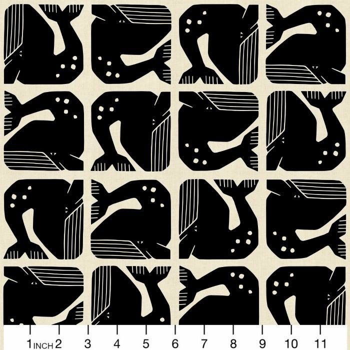 PD's Cotton + Steel Collection By the Seaside, Grumpy Whale in Black on Unbleached Fabric, Dinner Napkin