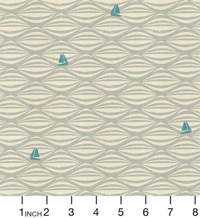 PD's Cotton + Steel Collection By the Seaside, Ahoy in Fog on Unbleached Fabric, Dinner Napkin