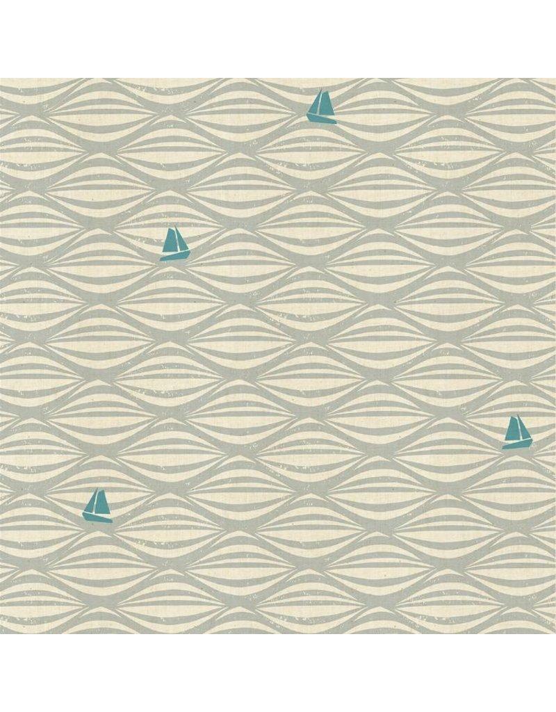 Cotton + Steel By the Seaside, Ahoy in Fog on Unbleached, Fabric Half-Yards LV104-FO3U