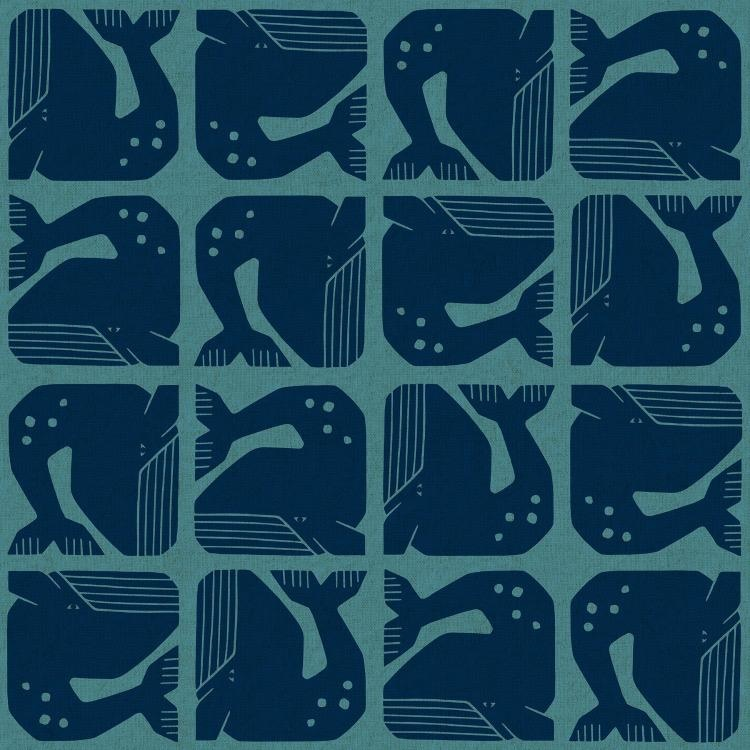Cotton + Steel Linen/Cotton Canvas, By the Seaside, Grumpy Whale in Blue, Fabric Half-Yards LV100-BL3C