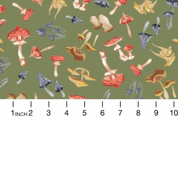 Rae Ritchie Hygee, Mushrooms in Moss, Fabric Half-Yards STELLA-SRR1284