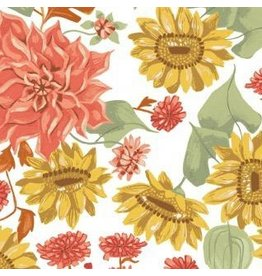 Rae Ritchie Hygee, Autumn Floral in White, Fabric Half-Yards STELLA-SRR1283
