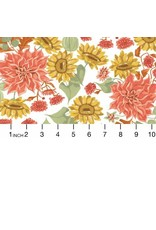 """Rae Ritchie Hygee, Autumn Floral in White, Fabric Half-Yards STELLA-SRR1283 (ONE 30"""" CUT REMAINING)"""